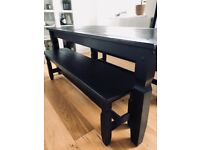 Ebony Rectangle Table with Benches