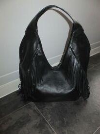 New Ladies Black Italian Leather Vera Pelle Tassel Hobo Handbag