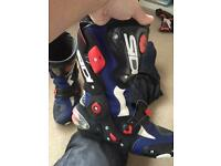 sidi vertigo corsa boots bike alpinestar size 9 blue and white