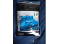 Dolphin duvet double set with pillow case - new