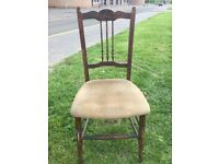 Vintage Victorian bedroom / hall chair dark oak