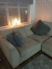 Cream fabric corner sofa