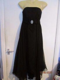 BEAUTIFUL MONSOON BLACK STRAPLESS DRESS SIZE 10 CHRISTMAS NEW YEAR PARTY
