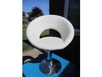Dwell Retro Circles creamy white faux leather chair