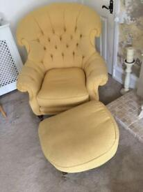 Beautiful old chair and footrest