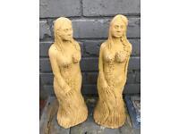 2 x garden statues