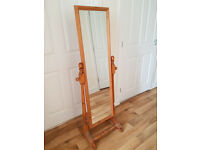 Free standing full length mirror. Pine. Great condition. 149 cm high, 54 cm wide.