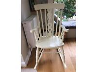 Cream wooden rocking chair
