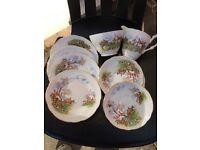 Hunting scene regency plates
