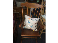 Charming Vintage Traditional Solid Pine Farmhouse Stick-Back Rocking Chair