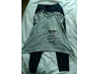 girls top/trouser set hanky hem harem grey blue age 10
