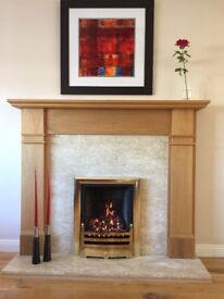 Contempary American Solid Oak Fire Surround with gas fire and Marble