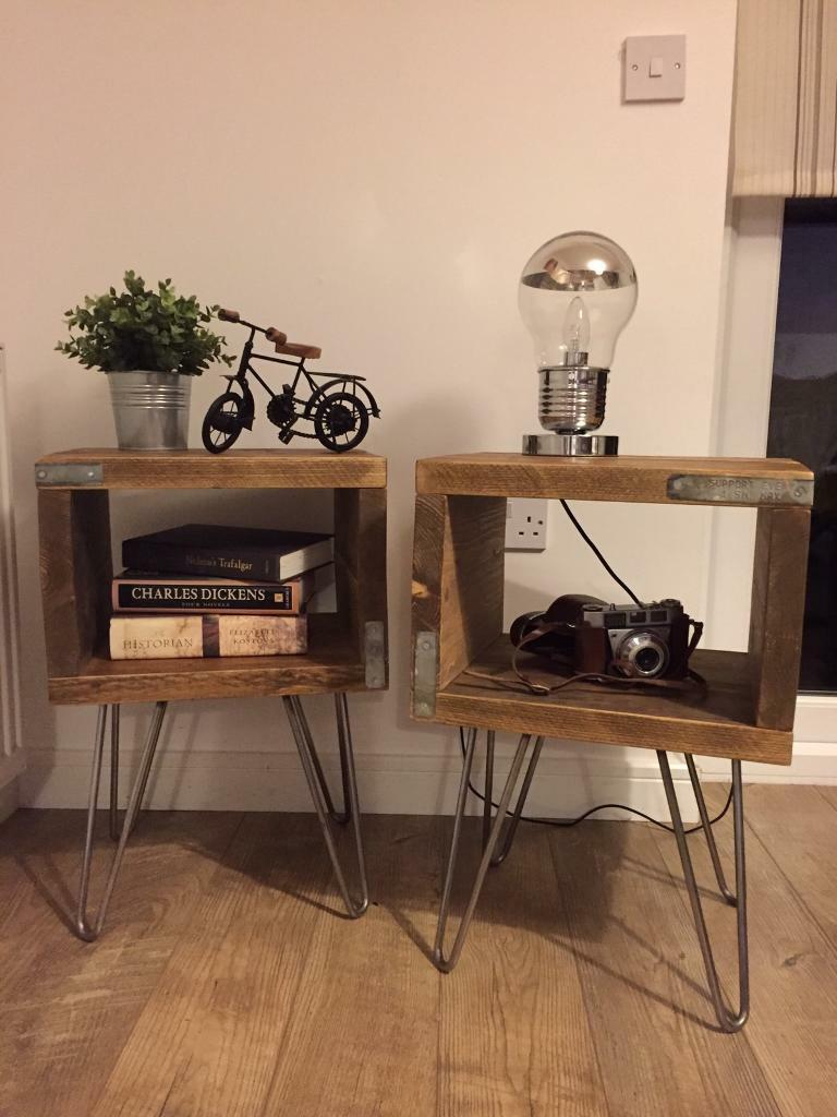 Lovley solid industrial style hand made bedside table set