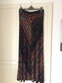Phase Eight Chevron Stripe Maxi Skirt, Black-Multi, s. 14UK