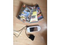 White PSP With 4 Disc