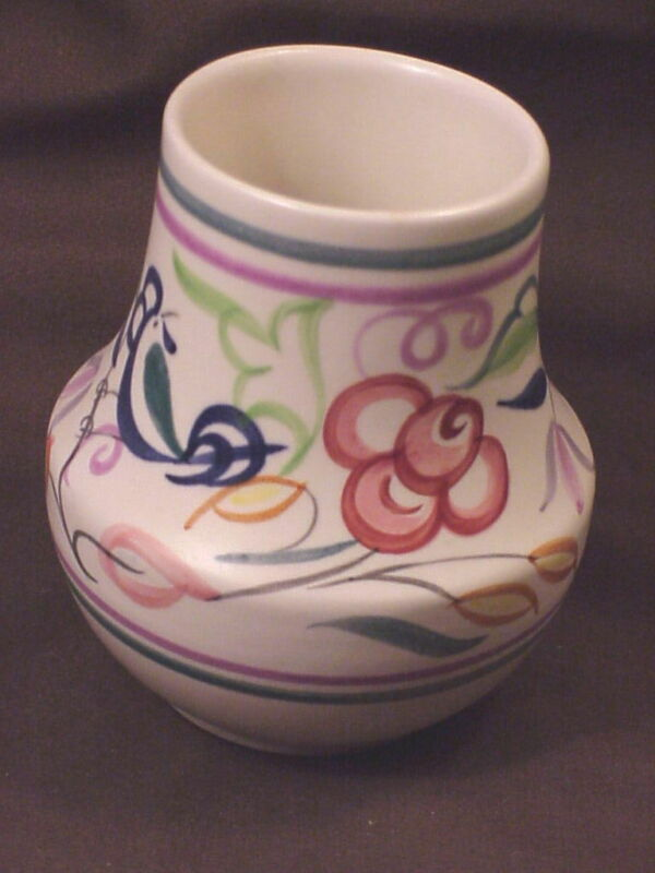POOLE POTTERY VASE, ENGLAND, HAND DECORATED, DECO STYLE, ARTIST SIGNED
