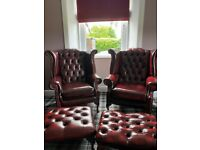 Pair of Oxblood Queen Anne Wingback Chesterfield Armchairs & Stools