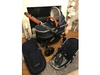iCandy Peach Royal Blue & Tan Leather Pushchair, Carrycot, Footmuff and Carseat adaptors
