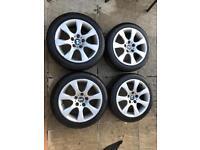 """BMW 17"""" Style 185 e90 e91 e92 e46 e36 3 series alloy wheels tyres"""