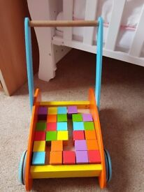 baby walker and building blocks