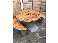 Rustic Cable Reel/Drum Garden or Bar Table with two Benches.