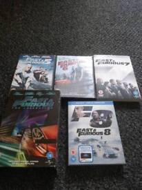 All fast and furious dvds and one blue ray