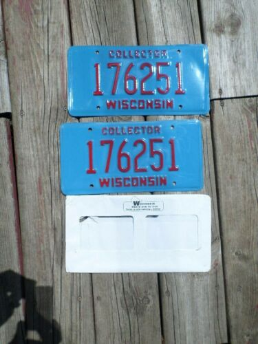 NEW! Wisconsin Collector License Plate Set of Two w/ Original Envelope