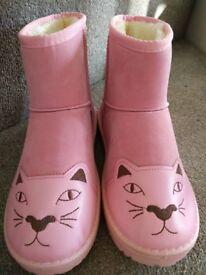 Pink cartoon cat ugg style winter warm boots New UK 6 Euro 39