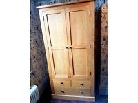 Solid oak wardrobe hardly used