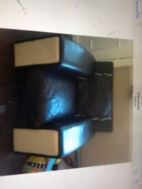 Leather brown and cream large two seater and chair