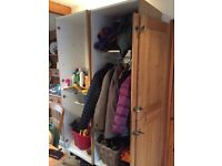 2 tall fitted cupboards with oak doors previously fitted together as one large unit