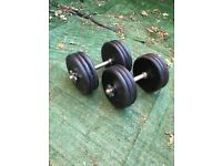 2x 30kg adjustable dumbbells commercial cast iron dumbells prostyle pro style weight weights plates