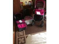 Silver cross wayfarer pushchair and pram and car seat