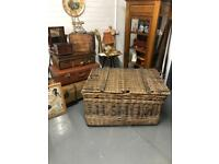 Large Vintage Wicker Basket with Lid