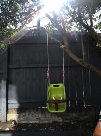 Kids hanging rope swing