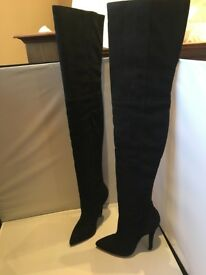 Fab Preen for Topshop Thigh High Black Suede Boots - BNIB, Size 37, U.K. 4