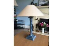 One Next Blue Table Lamp With Shade H21.5in/54cmW16in/40cm