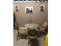 Conservatory retro cane table and 4 chairs