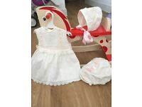 Three piece Spanish set. Cream with pink ribbon detail. Dress, Knickers and bonnet