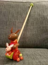 Kangaroo wooden push along toy