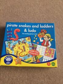 Orchard Toys Games ; Monster Bingo, Old MacDonald Lotto and Pirate Snakes and Ladders and Ludo