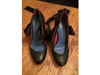 Ladies KG Black stilettos with ankle ribbons size 41