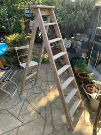 Vintage wooden ladder stepladder 6ft