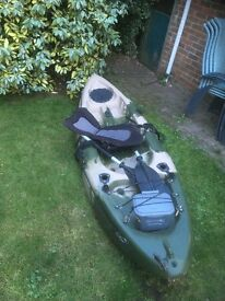 Sea kayak with paddles and seat harnesses