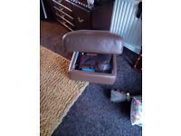 Leather recliner chair, 3 seater sofa and poufee.