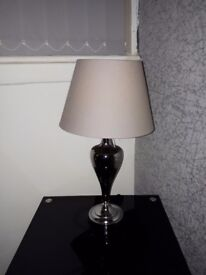 chrome lamp with grey shade