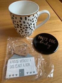 NEW dotty dog lady! Ceramic mug, coaster and sign set