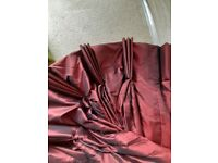 235cm wide, shot-silk thermally lined curtain with long drop.