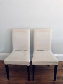 4 x dining chairs - padded seats and backs with cream removable covers