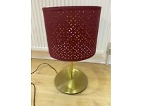IKEA Skaftet Brass Table Lamp w/ Nymo Lampshade